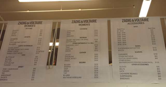 Zadig & Voltaire Sample Sale price list