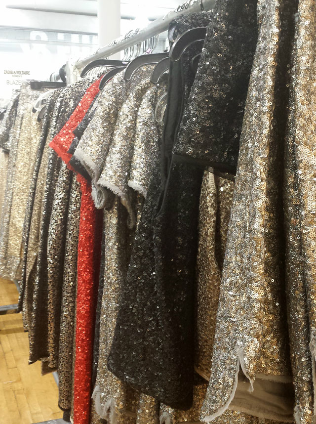 Sequin dresses for $230, tops for $130, and vests for $150 at Zadig & Voltaire Sample Sale