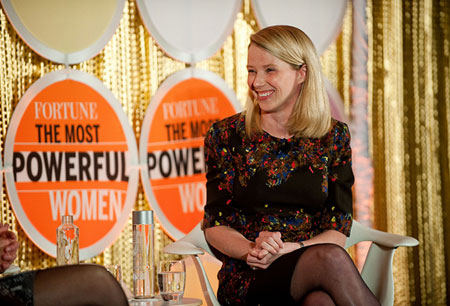 YAHOO CEO Marisa Mayer speaks with Pattie Sellers of Fortune Magazine at the the Fortune Most Powerful Women Dinner