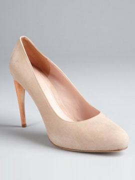 Alexander McQueen beige suede curved heel pumps