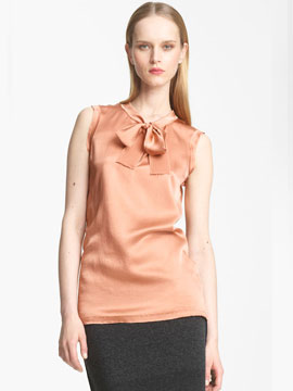 Lanvin Bow Detail Washed Satin Blouse