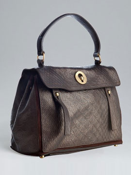 Yves Saint Laurent brown crocodile embossed leather 'Travel Muse 2' top handle tote