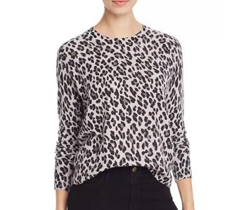 AQUA Cashmere Leopard-Pattern Cashmere Sweater