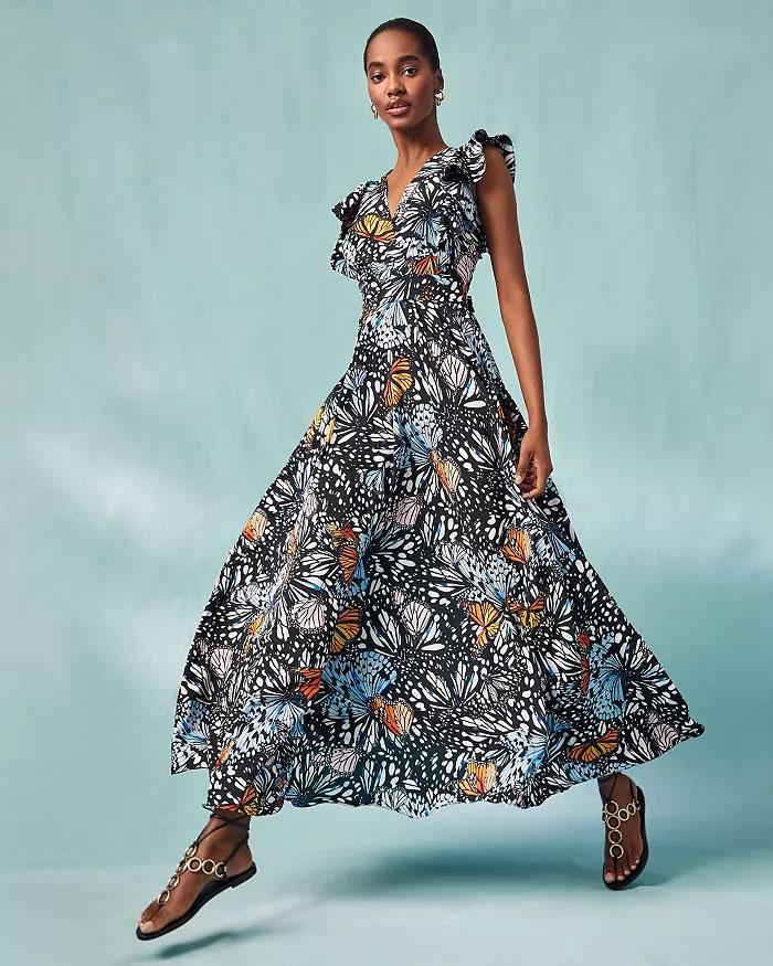 AQUA x Mary Katrantzou-Butterfly Print Maxi Dress