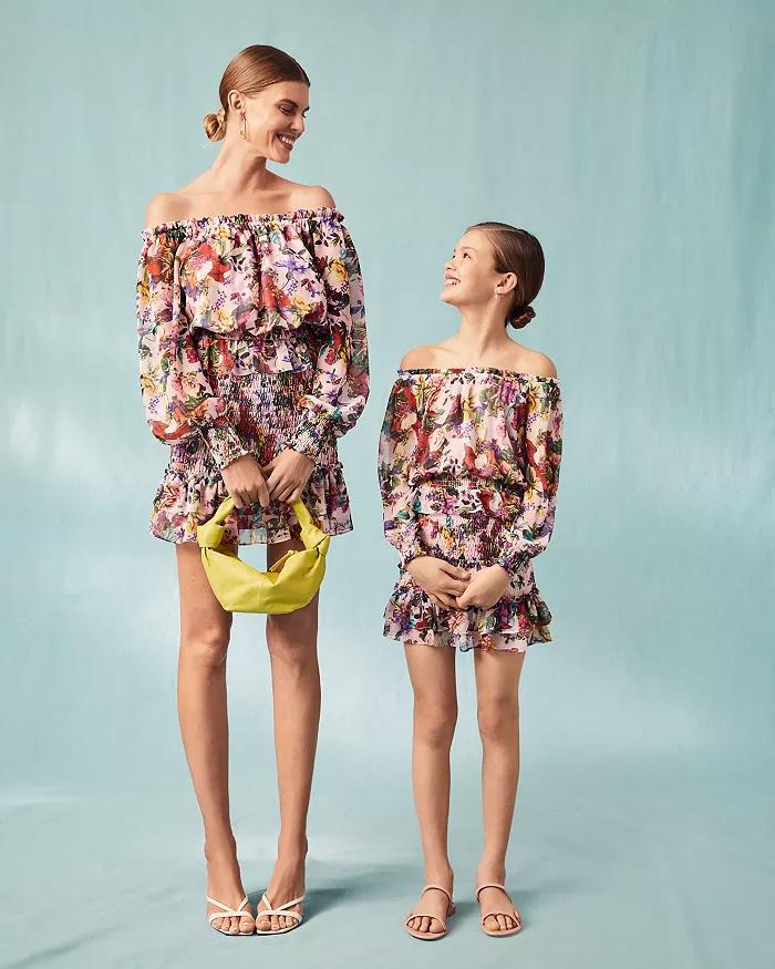 AQUA x Mary Katrantzou Floral Off The Shoulder Top and Smocked Mini Skirt