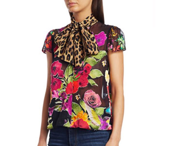Alice + Olivia Jeanie Floral & Leopard Print Silk Blend Blouse