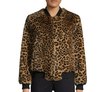 Apparis Ayesha Leopard-Print Faux Fur Bomber