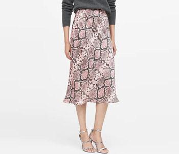 Banana Republic Snake Print Midi Slip Skirt