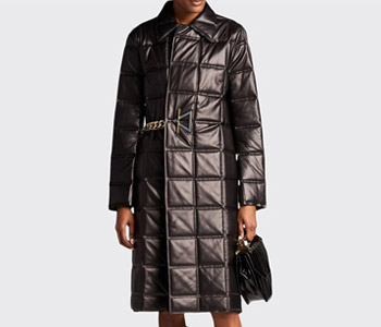 Bottega Veneta Bonded Quilted-Leather Chain-Belted Coat $9,720