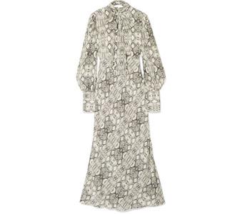 LES RÊVERIES Snake-print silk crepe de chine midi dress