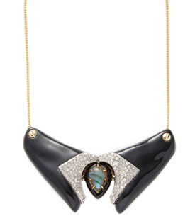 Alexis Bittar Lucite Encrusted Studded Screw Statement Necklace