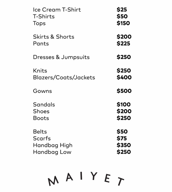Maiyet price list