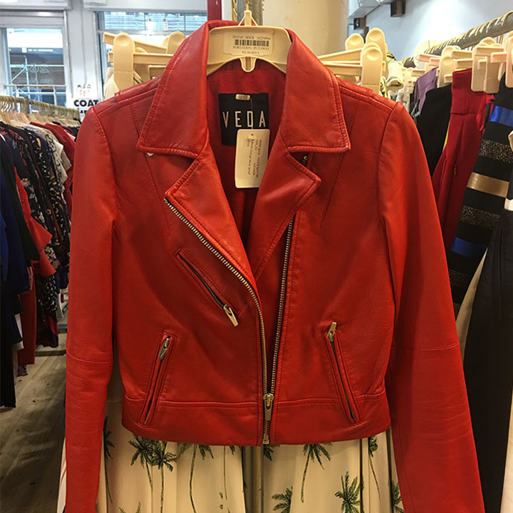 Veda leather moto jacket for $218 (retails for $979)