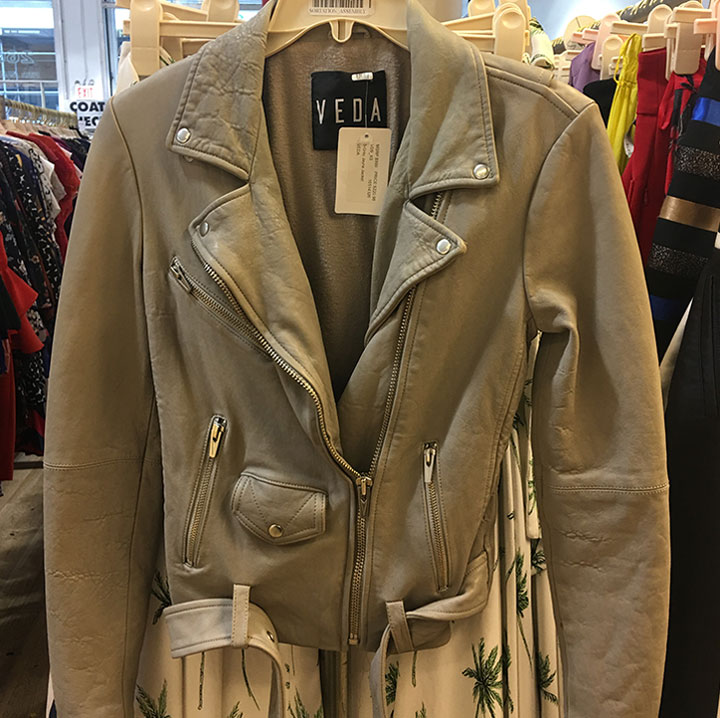 Veda leather jacket for $220 (retails for $990)